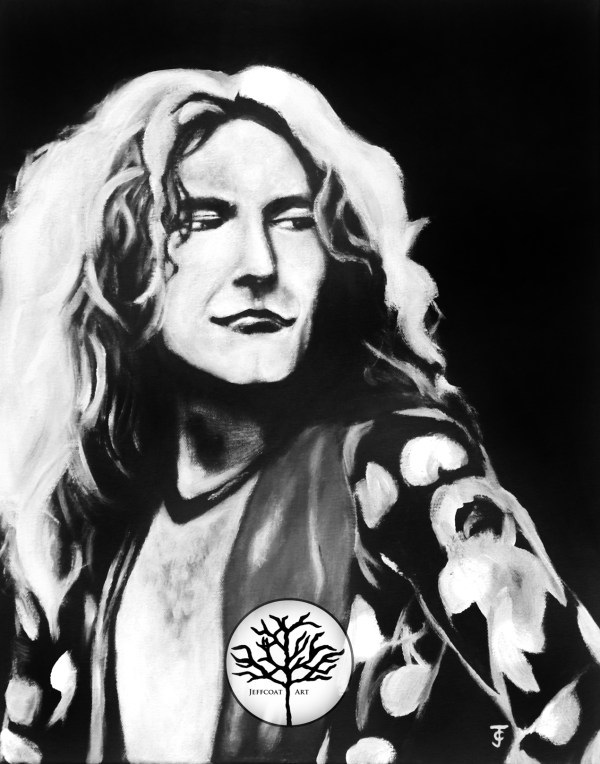 Robert Plant 8x10 Wall Decor, black and white painting of Led Zeppelin singer by Jeffcoat Art