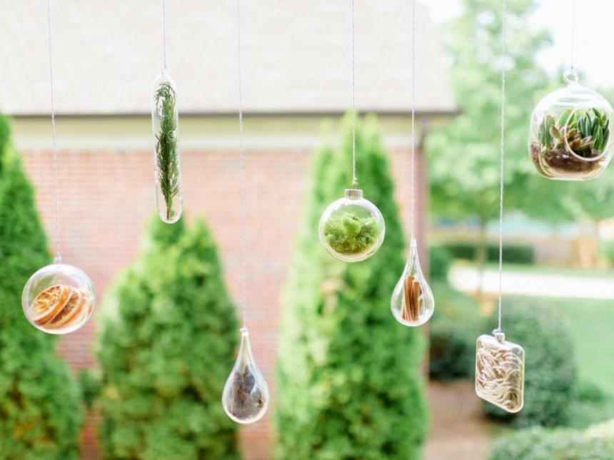 3 Ways to Bring Nature into Your Home, hanging glass ornaments stuffed with moss