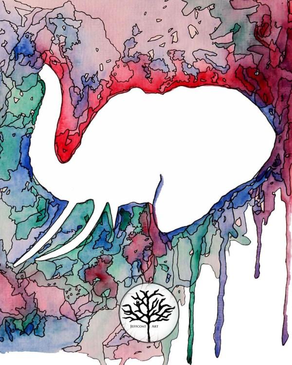 Kaleidoscope Elephant 8x10 Wall Art-print of white elephant with colorful background by Jeffcoat Art