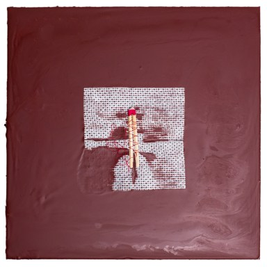 Cradled Wood Panel - Encaustic - Medical Gauze - Wooden Match - Thread -10x10x1 inches - 2016