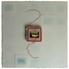 Cradled Wood Panel - Encaustic - 35mm Slides - Thread -Plaster - Medical Gauze - 10x10x1 inches - 2016