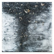 Tornado #15 - Cradled Wood Panel - Oil Paint - Encaustic -Wasp Paper - Charcoal - Ash - Cinders - 48x48x1 inches - 2017