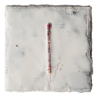 Cradled Wood Panel - Encaustic - Medical Gauze - Wooden Match - Thread -4x4x1 inches - 2016