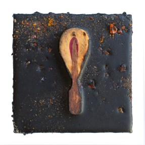 Cradled Wood Panel - Encaustic - Piano Hammer - Glass - 4x4x1 inches - 2017