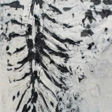 Figure #7 - Detail - Metamorphosis - Cradled Wood Panel - Encaustic - Cinders - Ash - 24x24x1 inches - 2017