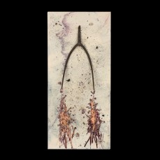 Witness Marks - Pitchfork. 12x26x1 inches. Pine board, encaustic, ash, charcoal, cinders, nail, pitchfork.