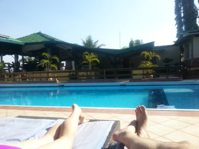 Relaxing poolside at Tilapia