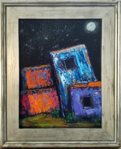 Adobe by Night - $250. Oil 12x16 In Wimberley Gallery Show May 2017