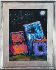 Adobe by Night - $250. Oil 12x16
