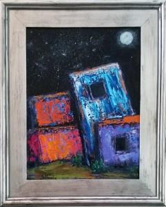 Adobe by Night - $250. Oil 12x16