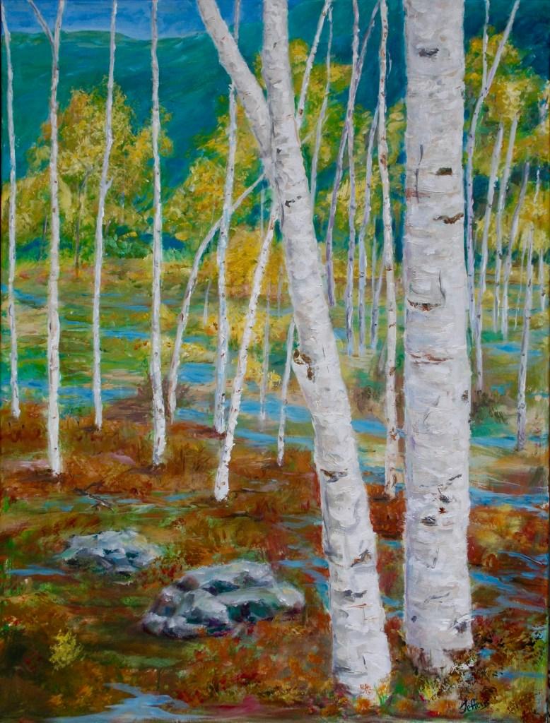 Birches , 30x40, Acrylic $650