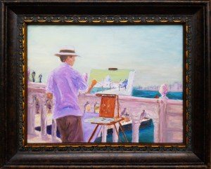 Painter Painting in Venice, $550, Oil, 16x20