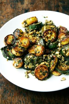 sauteed zucchini with basil, mint + pine nuts