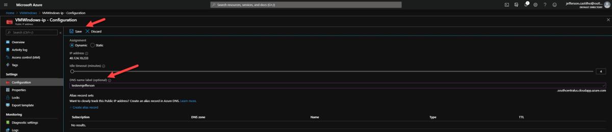 Configurando o DNS Name de uma VM