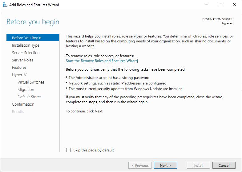Role do Hyper-V no Windows Server 2019