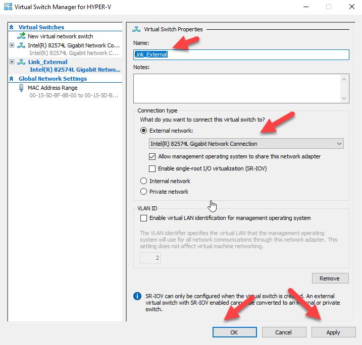 Criando um Virtual Switch External no Hyper-V 2019