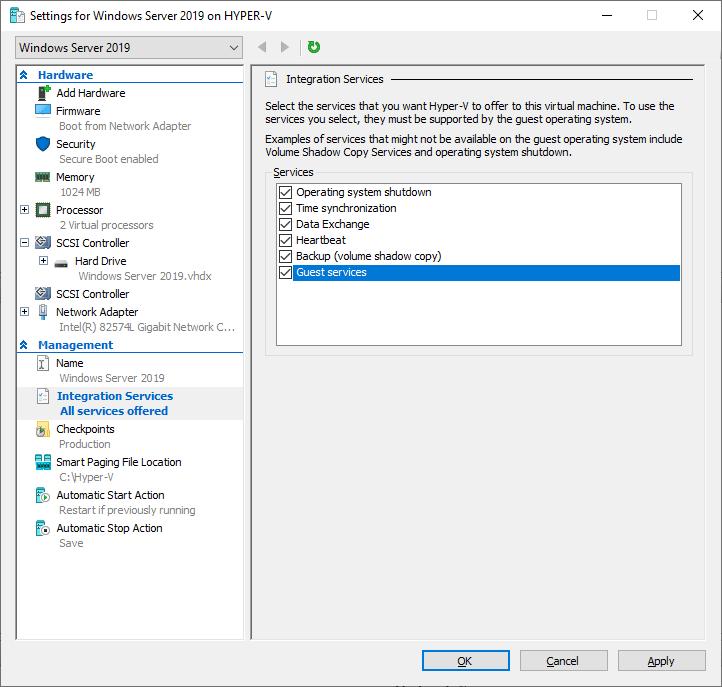 Habilitando Guest Services no Hyper-V Server 2019