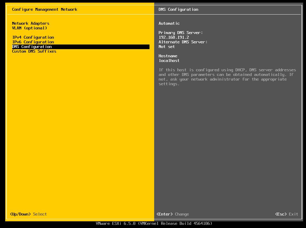 Alterando hostname do ESXI 6.5