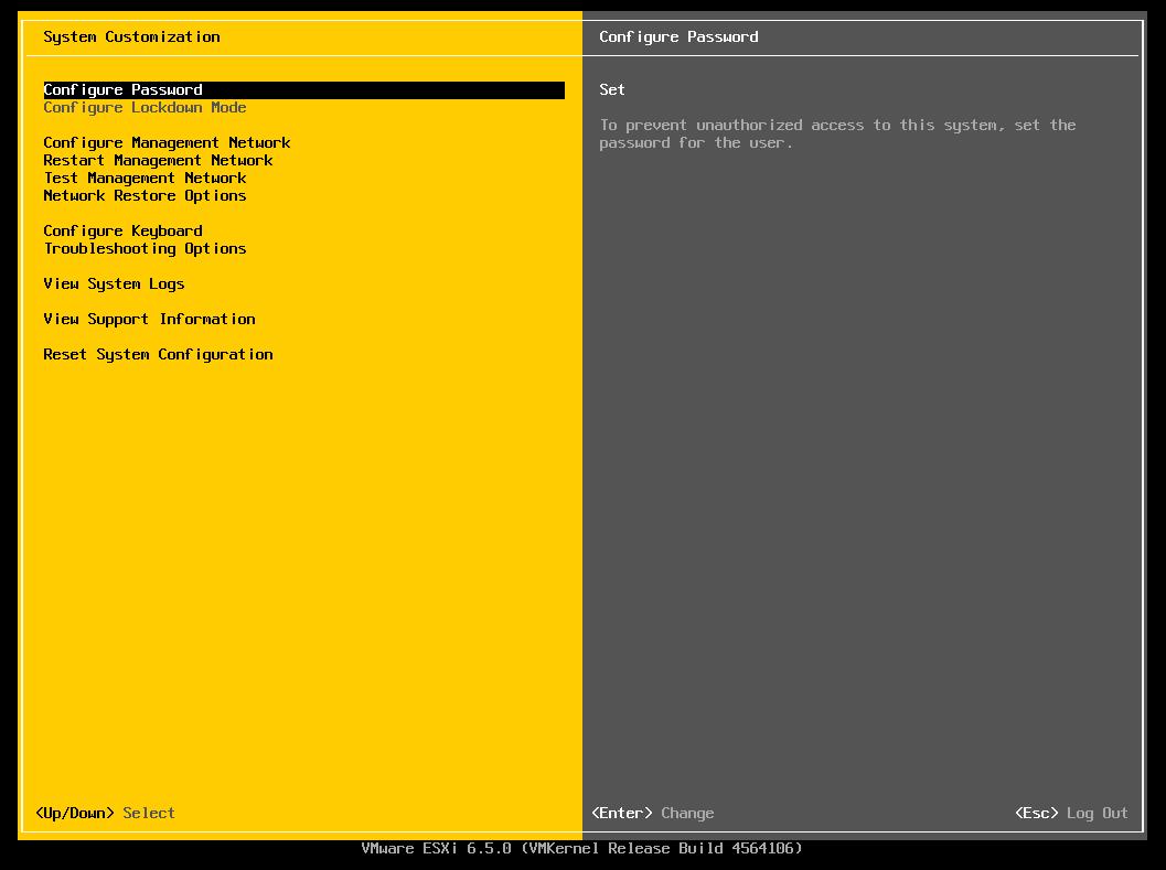 Alterando IP da Interface de rede do ESXI 6.5