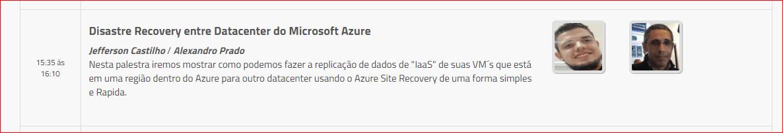 Palestra sobre DR entre Datacenter do Microsoft Azure