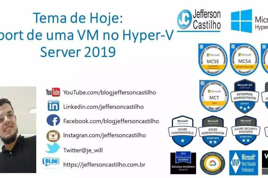 Export de uma VM no Hyper-V Server 2019