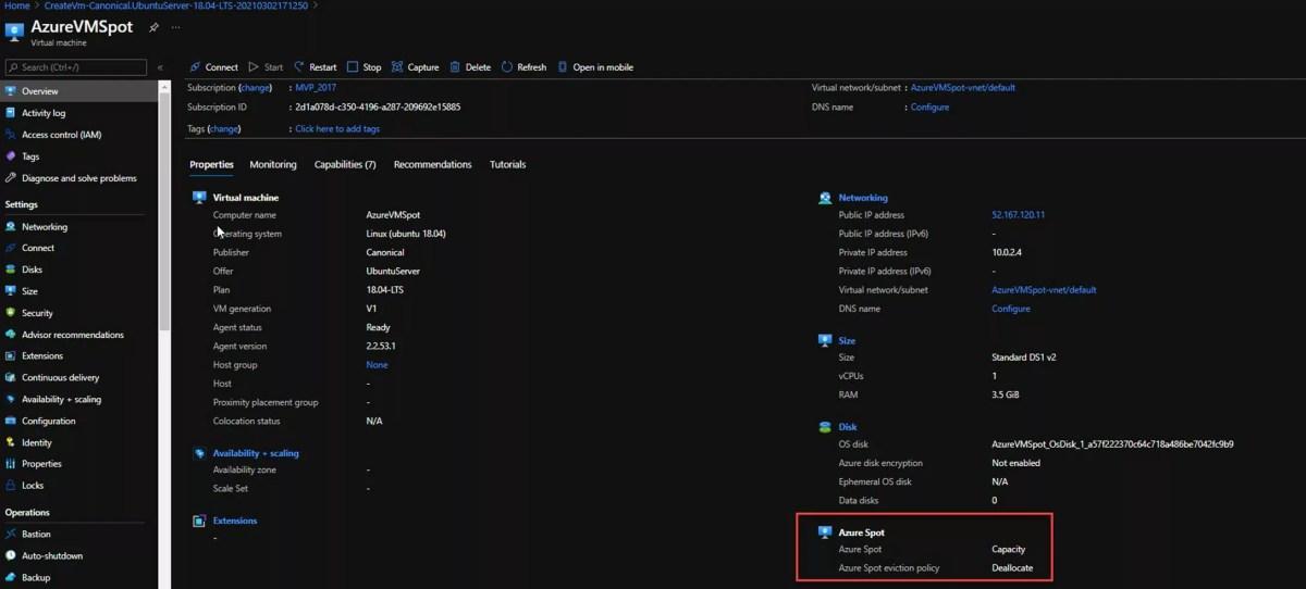 Criando uma VM Azure Spot Instance