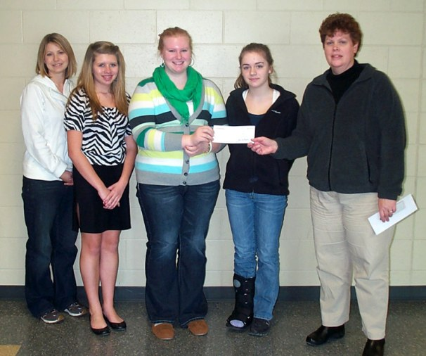 STAR organization at Jefferson High School -- The Jefferson Community Foundation provided support to the STAR organization at the Jefferson High School. Representing the Foundation, Laura Peachey presents a check to Shannon Mooney, School Counselor and Co-STAR advisor, and STAR students Hannah Pogantsch, Kim Proffitt, and Samatha Gottinger.