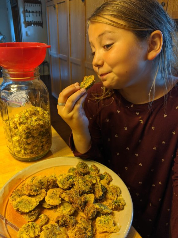 Maezy is the first of the Smith family to try the dandelion fritters. They were a huge hit!