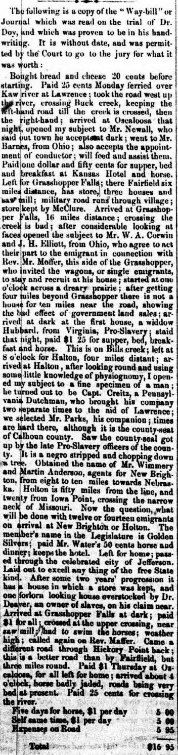 St Joseph Weekly West June 26, 1859 Doy Waybill