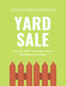 JMCA Community Yard Sale - Benefiting The Red Cross @ Community Name Your Own Price Yard