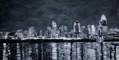Cincinnati Panorama   Black and white painting of the Cincinnati Skyline ~SOLD