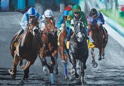 "Kentucky Thoroughbreds   55"" x 79"" Acrylic on Canvas"