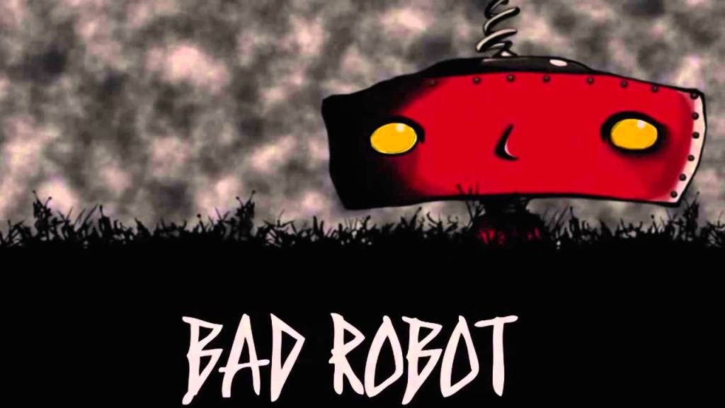 """Bad Robot"" icon from Hollywood. Red robot head in a corn field against a black and white background."