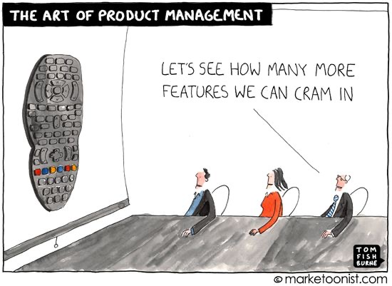 """Cartoon by Tom Fishburne. Three executives looking at a remote control, packed with buttons. One of the product managers says """"Let's see how many more features we can cram in"""""""