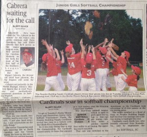 The June 4, 2003 sports section of the Rocky Mount Telegram.