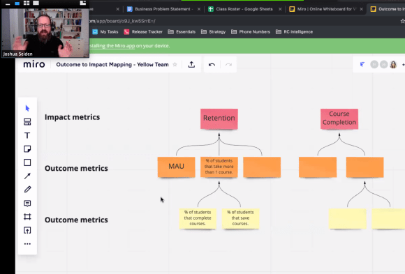 Josh Seiden presenting during the Live Online Class for Product Discovery for Agile Teams