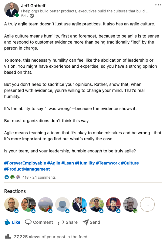 Screenshot of LinkedIn post that inspired this article