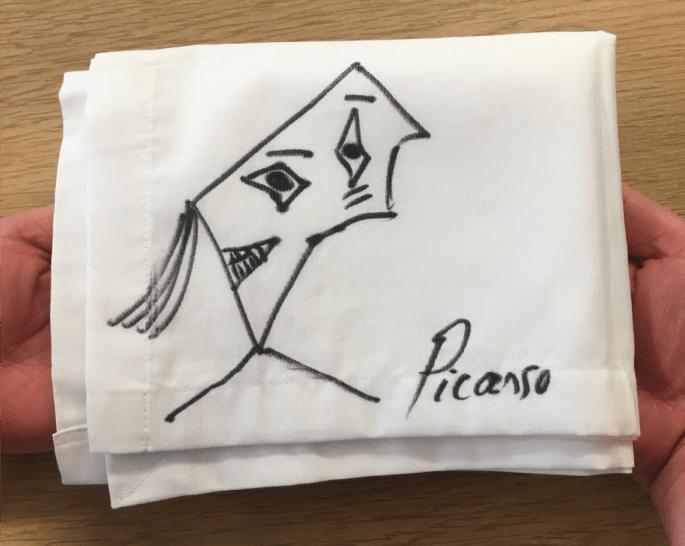 Picasso napkin sketch