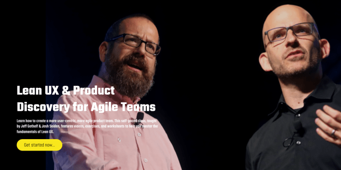Lean UX and Product Discovery for Agile Teams promotional banner featuring a photo of Josh Seiden and Jeff Gothelf