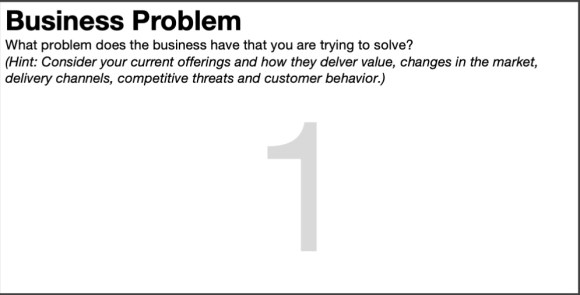 Close up of Box 1 of the lean ux canvas, business problem statement