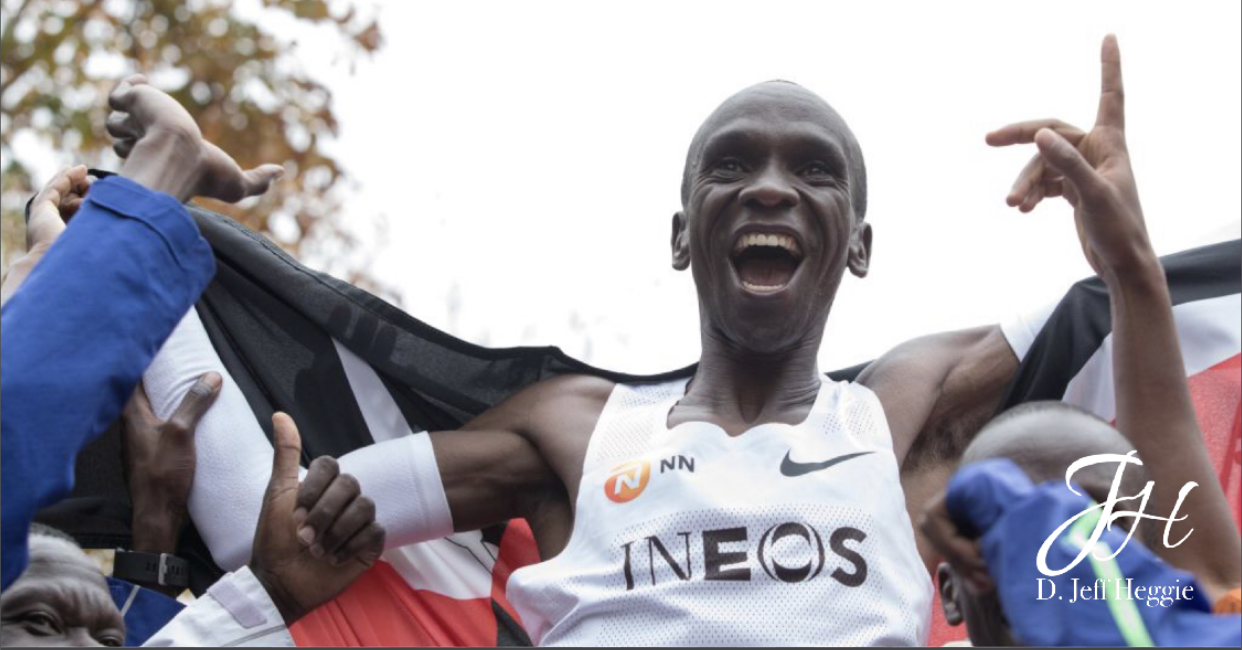 Kenya's Eliud Kipchoge celebrates world record marathon