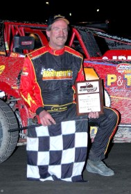 """""""The Jeffer"""" in victory lane at OCFS aboard the Atlas Paving 66."""
