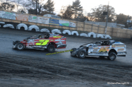 Jeff Heotzler and Tommy Meier battle for position during the Eastern States 200 at the Orange County Fair Speedway!
