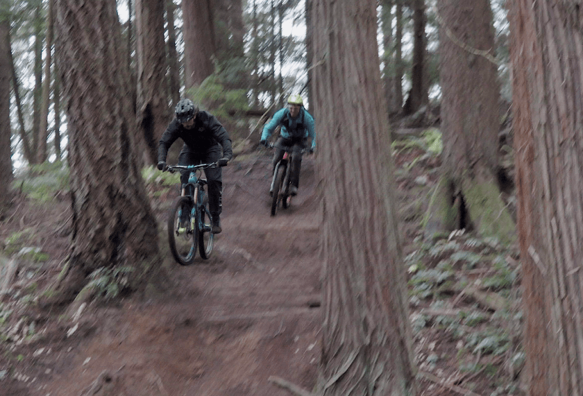 Phil Metz and I dropping into some fine singletrack!