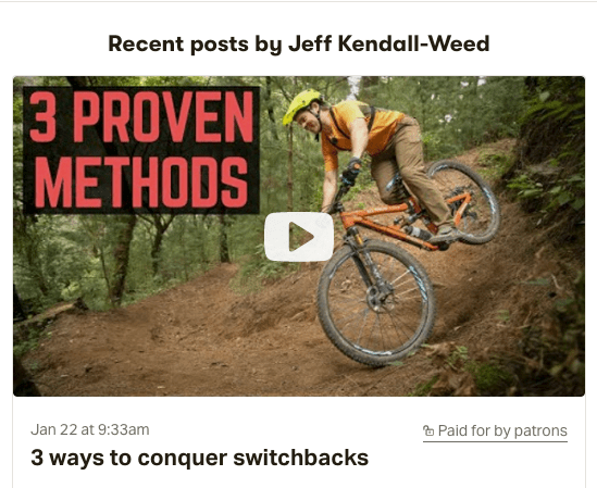 Screen shot of Jeff Kendall Weed's switchback riding tutorial