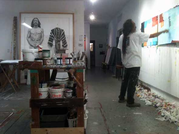 Artist Tony Eitharong in the studio