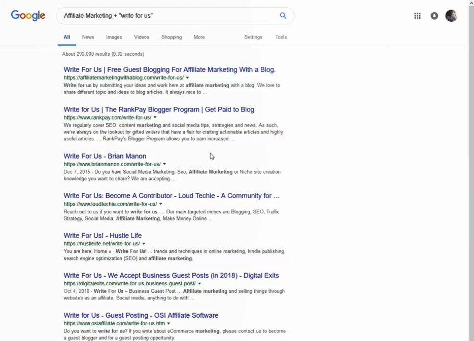 Guest Post Search Example