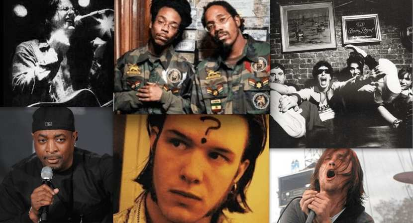 Clockwise from top left: Myer, Duo Live, Bad Ronald, Warren, Hoon and Public Enemy's Chuck D