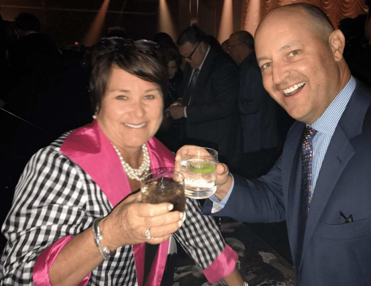 With Titans controlling owner Amy Adams Strunk at Jerry Jones' Hall of Fame party.