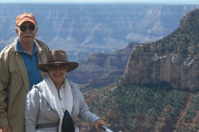 Peter with his wife Virginia on a trip to the Grand Canyon.